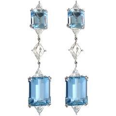 Harry Winston Aquamarine Diamond Platinum Ear Pendants