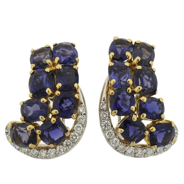 Seaman Schepps Iolite Diamond Gold Earrings