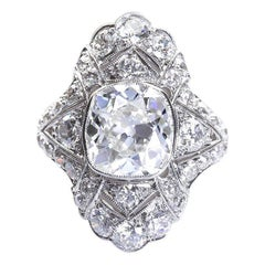 Art Deco 4.60 Carat Old Cushion Cut Diamond Platinum Ring