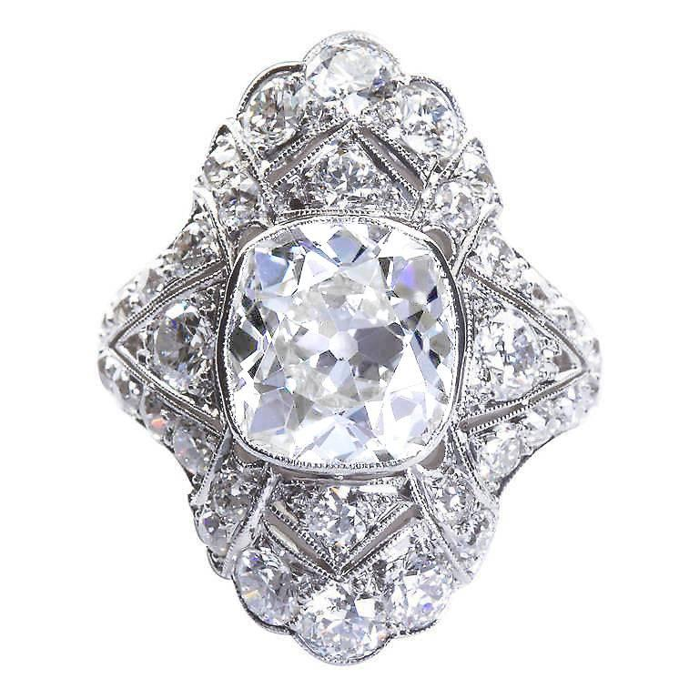 Art Deco 4.60 Carat Old Cushion Cut Diamond Platinum Ring For Sale
