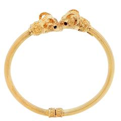 Ilias Lalaounis Rams Head Bangle Bracelet With Ruby Eyes