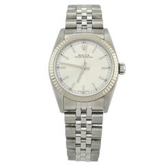Rolex white gold stainless steel Oyster Perpetual Wristwatch Ref 77014