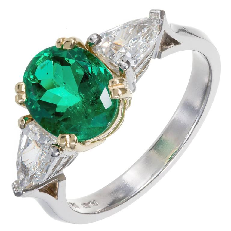 Peter Suchy 1.97 Carat Colombian Emerald Diamond Gold Platinum Engagement Ring