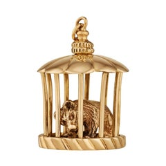 Gold Wall Street Caged Bear Charm