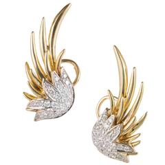 Diamond Yellow Gold Swirl Clip Post Earrings