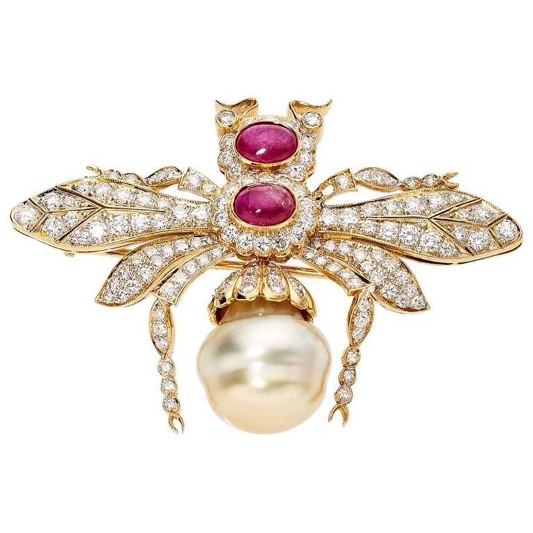 Diamond Ruby Pearl Gold Bee Brooch