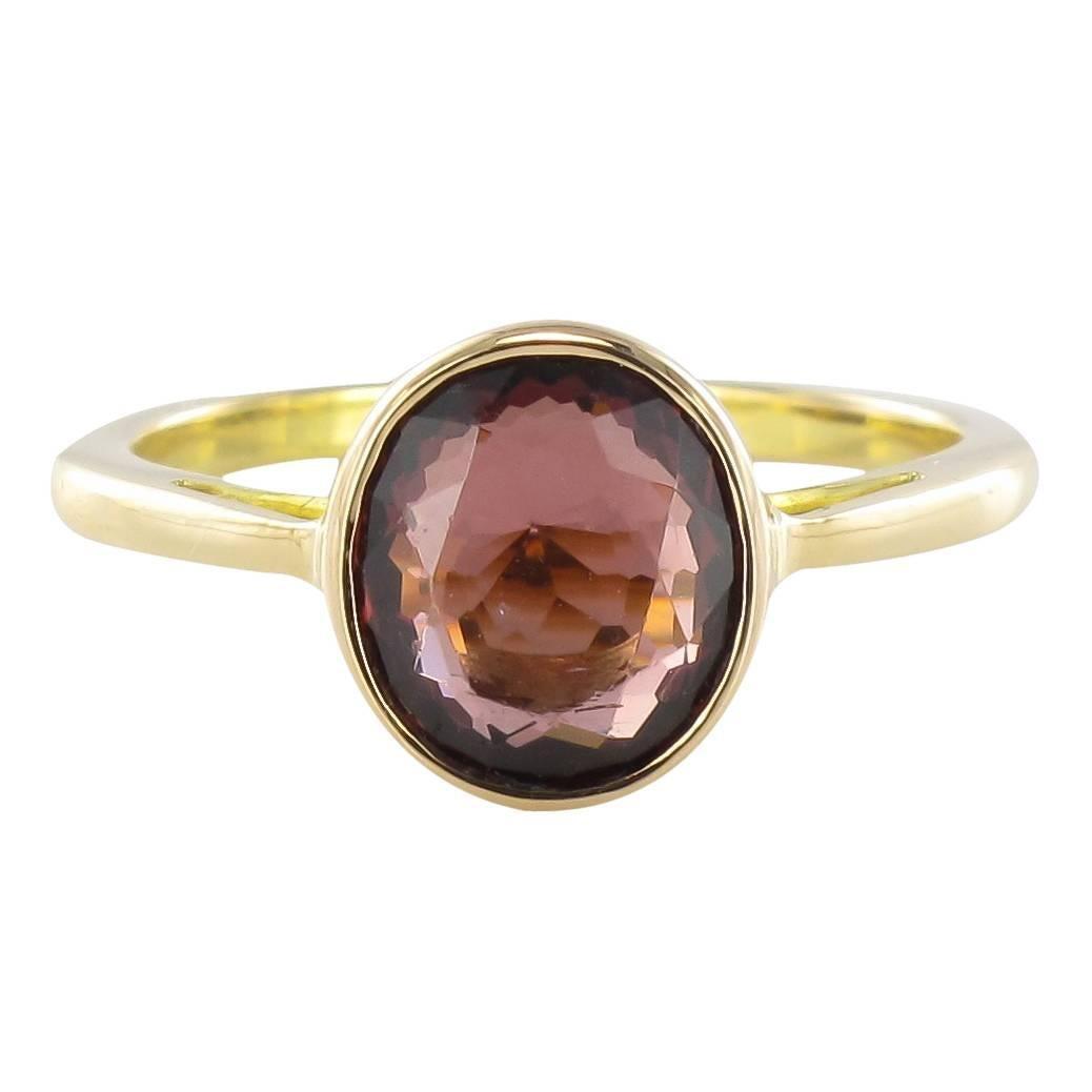 Solitaire Rhodolite Garnet Ring