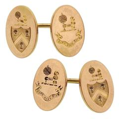 Rare Edwardian Tiffany & Co. Crest of Terrell of Virginia Gold Oval Cufflinks