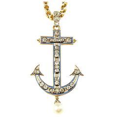 Antique Victorian Diamond Two Color Gold Anchor Pendant Necklace