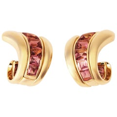 Verdura Tourmaline Gold Earrings
