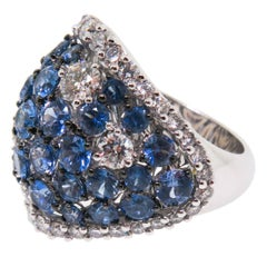 New Italian Art Sapphire Diamond Gold Ring