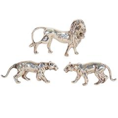 Three Sterling Silver Lions