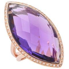 23 Carat Natural Amethyst & Diamond 18 Karat Rose Gold Ring