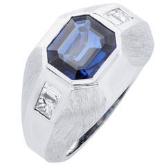 3 Carat Sapphire Diamond White Gold Men's Ring