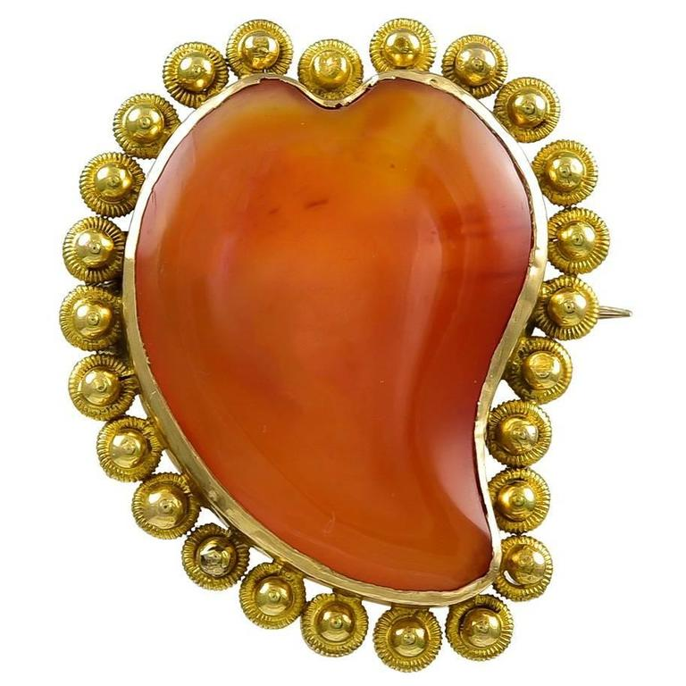 Georgian Carnelian Gold Witches Heart Brooch Pendant