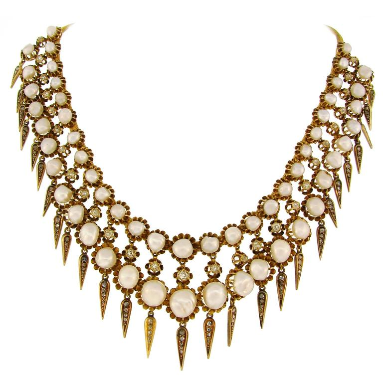 Victorian Natural Pearl Diamond Gold Necklace For Sale
