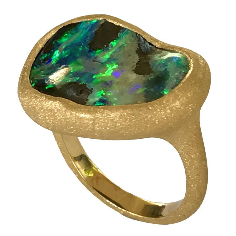 Dalben Deep Boulder Opal Engraved Gold Ring