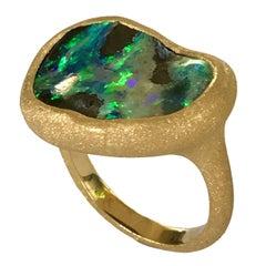 Dalben Deep Boulder Opal Engraved Gold Ring