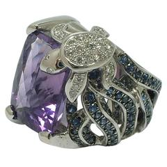 Charming Amethyst Sapphire Gold Turtle Ring