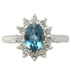 1973 1.07 Carat Aquamarine and Diamond White Gold Coctail Ring