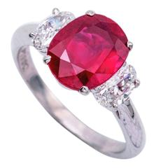3.09 Carat Cushion Natural No Heat Ruby Diamond Platinum with Certificate