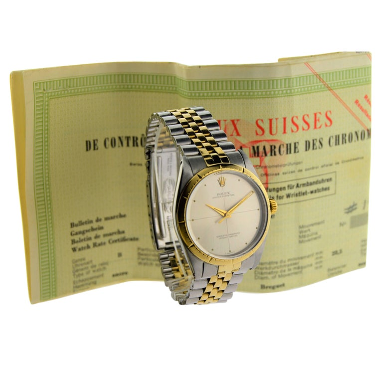 Rolex Two Tone Yellow Gold Stainless Steel Zephyr 1008 with Original Papers For Sale