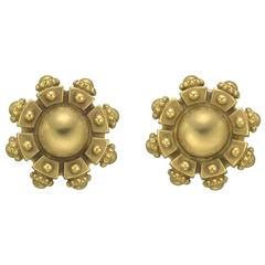 Kieselstein-Cord Domed and Crenulated yellow Gold  Earclips