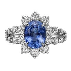 2.31 Carat Sapphire Diamond platinum Cluster Ring