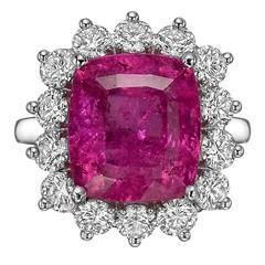 Betteridge 6.99 Carat Rubellite Diamond platinum Cluster Ring