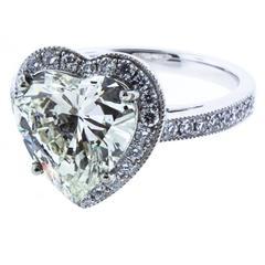 Danuta GIA Certified 3.60 Carat Diamond Heart platinum Ring