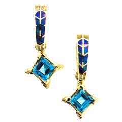 Australian Opal Blue Topaz Gold Hawk Feather Motif Earrings