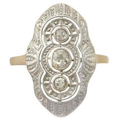 Antique 1920s Art Deco Diamond and Yellow Gold Coctail Ring