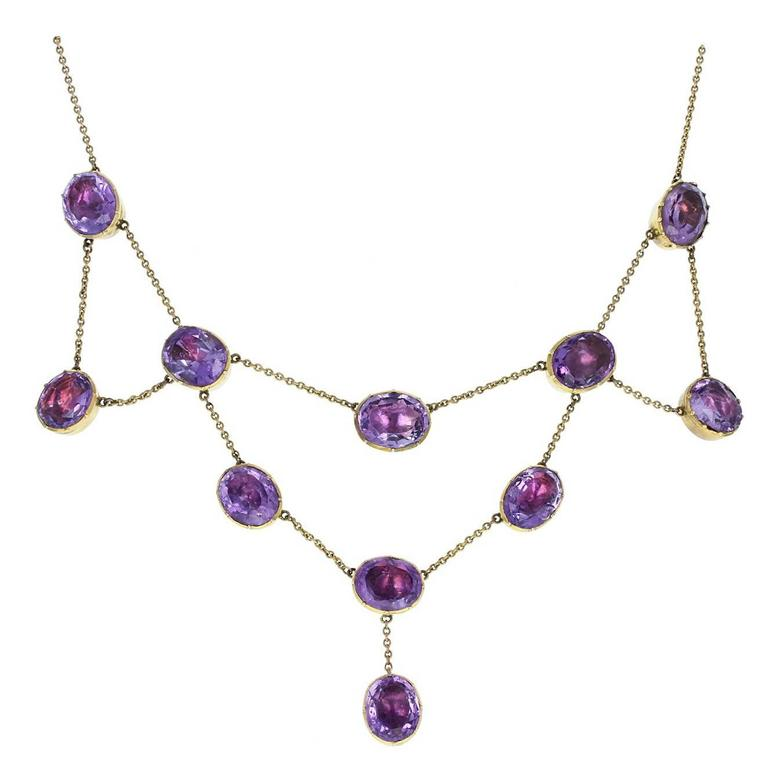 Antique Victorian Amethyst Gold Bib Festoon Necklace 1