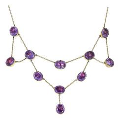 Antique Victorian Amethyst Gold Bib Festoon Necklace