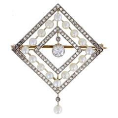 Antique Edwardian Pearl Diamond Brooch