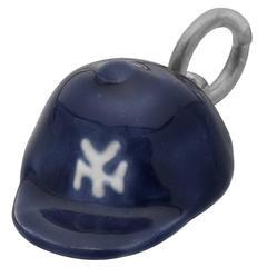 Deakin & Francis Sterling Silver Enamel Yankee Baseball Cap Charm