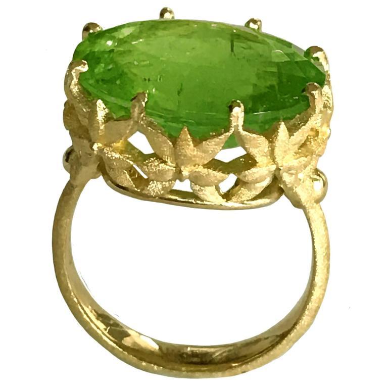Dalben Oval Green Tourmaline Gold Ring