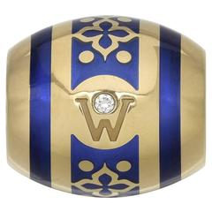 Wellendorff Paloma Blue Enamel Diamond Gold Rondel