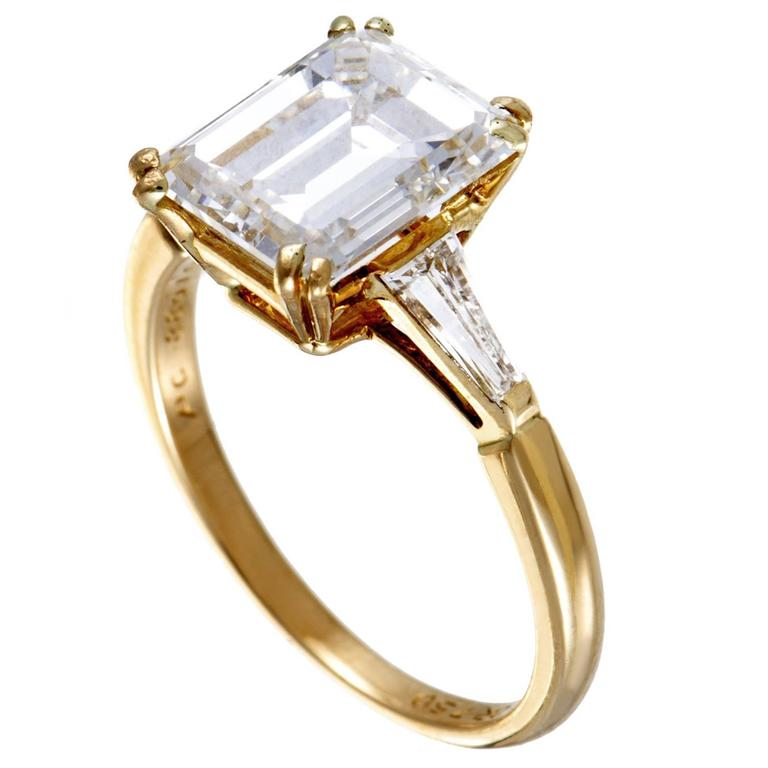 Boucheron Tapered Baguette and Emerald Cut Diamond Yellow Gold