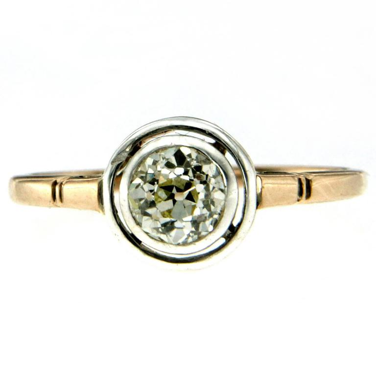 Edwardian Diamond Gold Solitaire Ring
