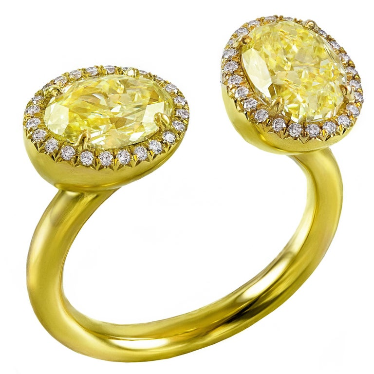 GIA Certified Oval Yellow Diamonds Gold Ring
