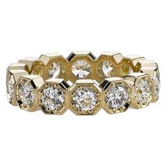 Old European Cut Diamond Gold Eternity Band