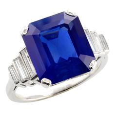9 Carat Natural No Heat Cornflower Kashmir Sapphire Diamond Platinum Ring