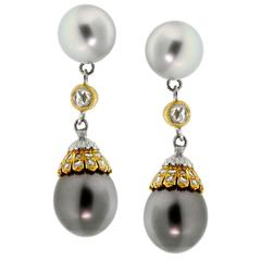 Buccellati Pearl Diamond Drop Earrings