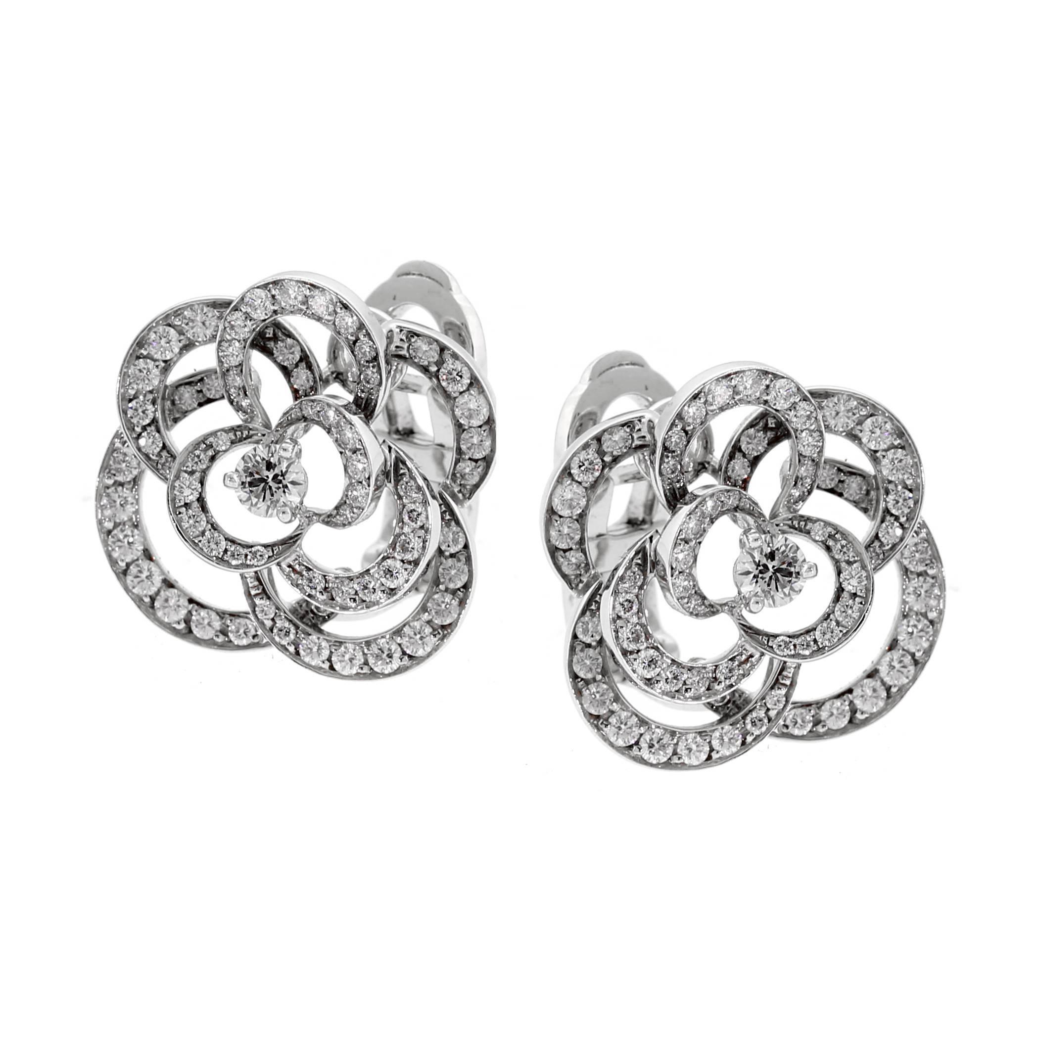 1f50c5e49 Chanel Camellia Diamond Earrings at 1stdibs