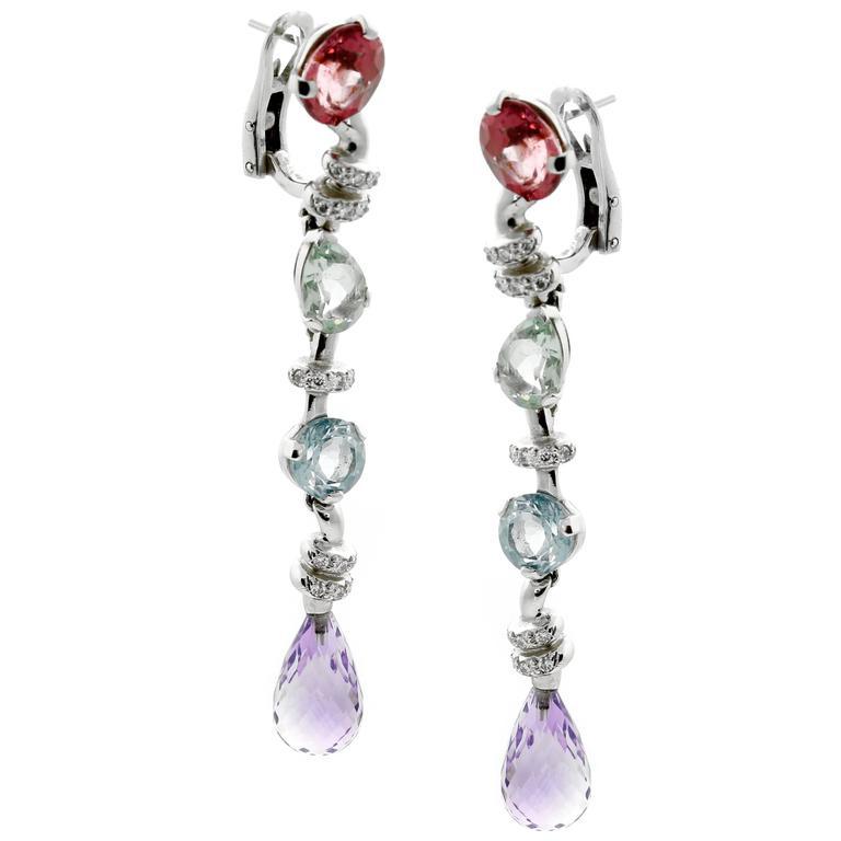 Chanel Diamond Gemstone Drop Earrings
