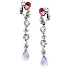 Chanel Diamond Gemstone Drop Earrings