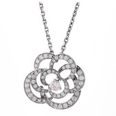 Chanel Camellia Flower Diamond Pendant Necklace