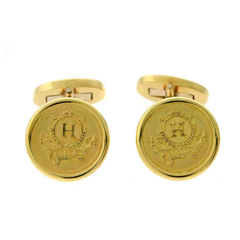 Hermes Yellow Gold Cufflinks For Sale