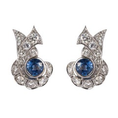 French Art Deco Sapphire and Diamond Earrings